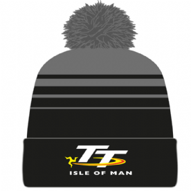 Isle of Man TT Bobble Hat Black Grey